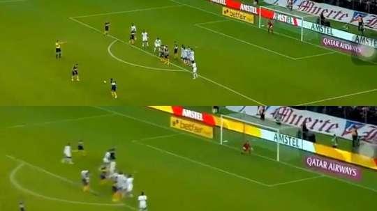 La zurda de Reynoso volvió a aparecer con un gran gol de falta. Captura/FOXSports