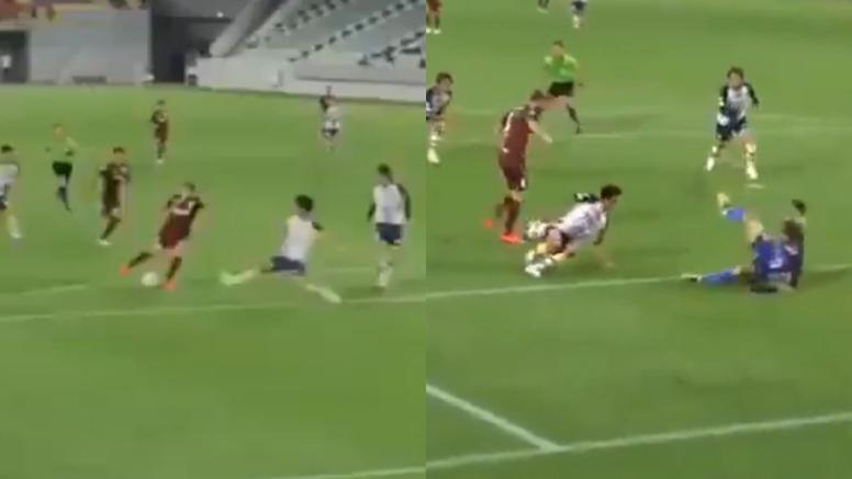 Samper se fue de tres y dejó sentado al portero para marcar su primer gol. Captura/Sportsandlf