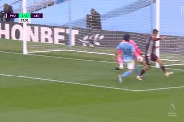 Vardy scored a hat-trick. Screenshot/DAZN