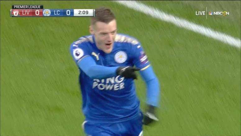 Vardy scored at Anfield. NBCSN