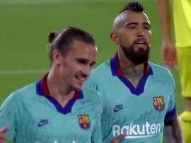 Griezmann marcou dois golaços no primeiro tempo contra o Villarreal. Captura/Movistar+