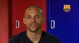Braithwaite escolheu os jogadores que mais influenciaram sua carreira por posição. Captura/BarçaTV