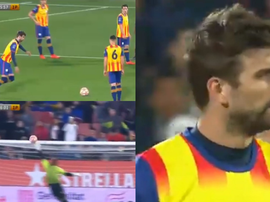 Pique went close with a first half free-kick. Screenshot/TV3