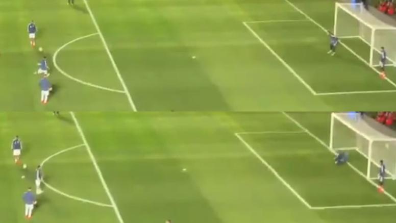 Messi marca golos até no aquecimento. Captura/JuanNovaak