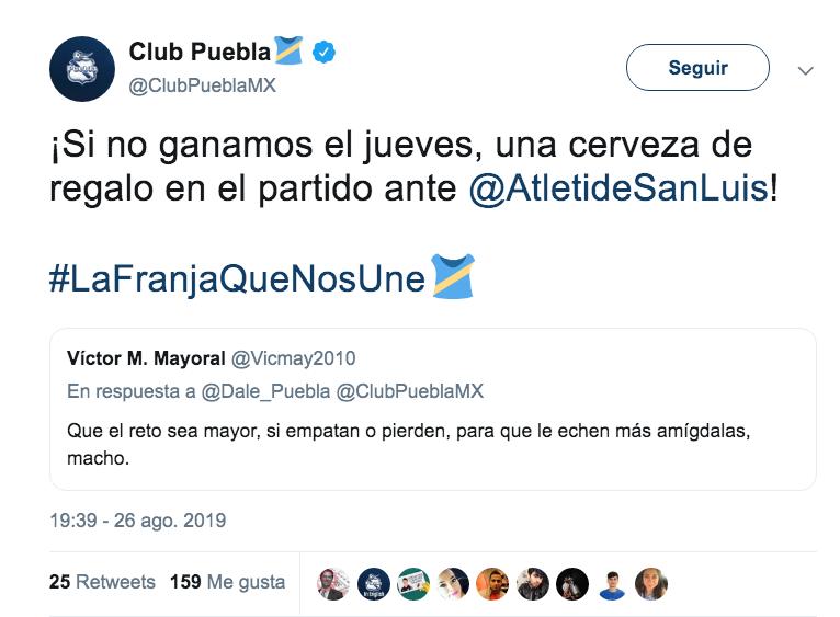 El reto de Puebla: si no ganan, regalarán cerveza a sus hinchas. Twitter/ClubPueblaMX
