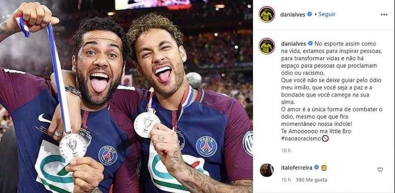 Alves salió en defensa de Neymar. Instagram/danialves