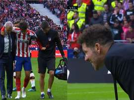 La réaction de Simeone lorsque Joao Felix a été contraint de céder sa place. Capture/Movistar+