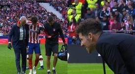 Simeone, como todos los atléticos: así reaccionó a la lesión de Joao. Captura/Movistar+