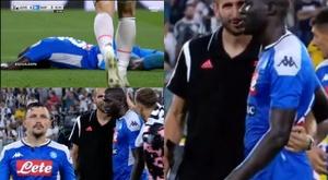 Chiellini ofereceu seu ombro ao devastado Koulibaly. Captura/ESPN