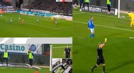 Estaba calentando, la pelota iba fuera, decidió tocarla... ¡y el árbitro pitó penalti! Captura/Bunde