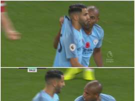 Fernandinho chama atenção de Mahrez. Captura/beINSports