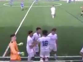 Captura del momento en el que se produce la pelea entre jugadores y público. Twitter