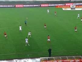 Captura del momento en que Alan arranca en uno de los goles. Youtube