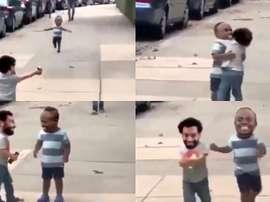 'Mini Salah' y 'mini Mané', puro espectáculo: imposible aguantar la risa. Captura/TV2Sporten