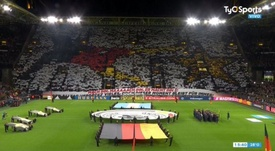 Captura do mosaico feito pela torcida alemã em amistoso contra a Argentina. Captura/TyCSports