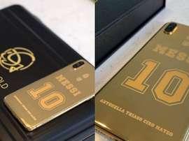 O novo telemóvel de Messi. Instagram/idesigngold