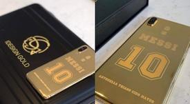 Así es el nuevo móvil de Leo Messi. Instagram/idesigngold