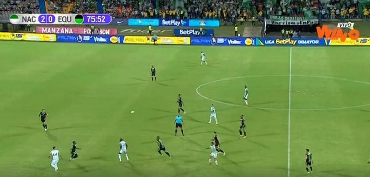 Dos goles en tres minutos dieron la victoria a Atlético Nacional ante La Equidad. Captura/WinSports