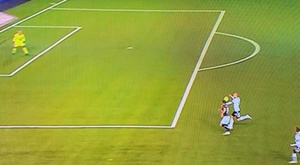 Rosenborg were given a penalty against. Screenshot/Eurosport