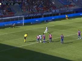 Aspas failed to score a penalty in stoppage time at Eibar. Captura/LaLiga