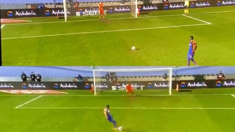 Un penalti 'made in Dembélé': amagó con la zurda y disparó con la diestra. Captura/Movistar+
