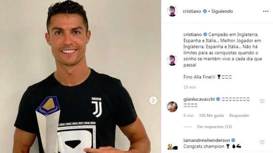 Cristiano est fier d'avoir conquis la moitié de l'Europe. Instagram/CristianoRonaldo