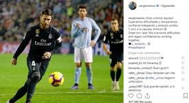 Guiño de Ramos a Panenka. Instagram/Ramos