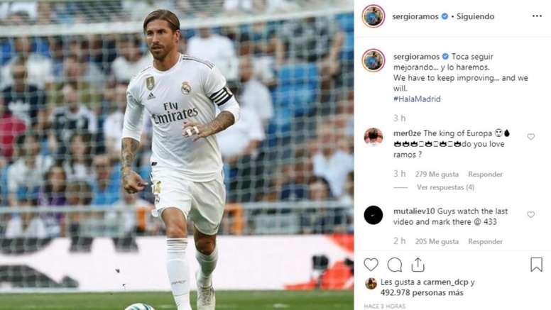 Ramos alentó al madridismo. Captura/Instagram/SergioRamos
