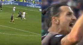 Ibrahimovic marca seu primeiro gol no retorno ao Milan. Capturas/Movistar+