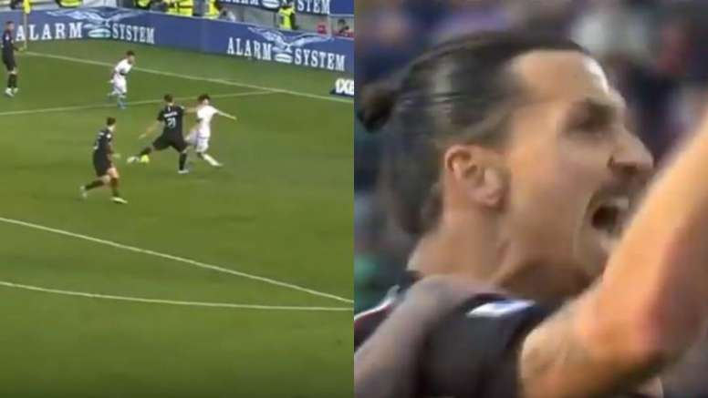 Ibra scored his first goal in his second spell at AC Milan. Capturas/Movistar+
