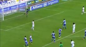 Cinco años del estreno goleador de James con el Madrid. Captura/LaLiga
