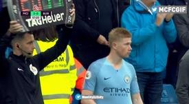 Kevin de Bruyne Premier League 2018-19. Captura/Movistar