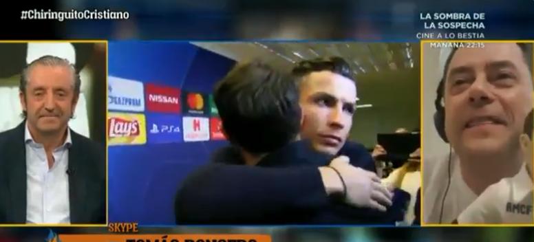 Y Cristiano se acordó del Madrid en Turín. Captura/ChiringuitoTV