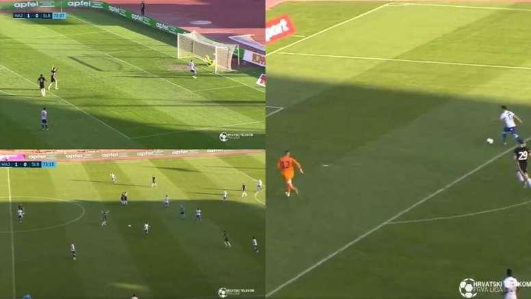 Celebran un gol que no entró y le meten uno sin portero. Captura/Nogomet+