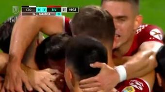 River le endosó un contundente 0-5 a Central Córdoba. Captura/TNTSports