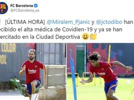 The club gave them the all clear after the relevant PCR tests. Twitter/FCBarcelona_es