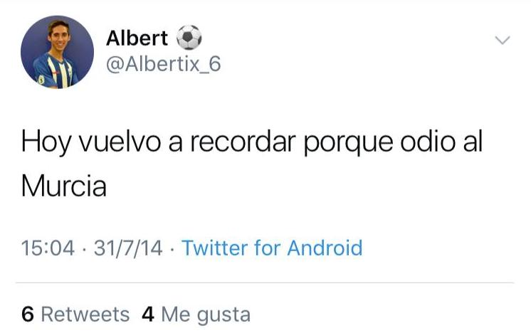 El nuevo fichaje del Murcia se arrepiente de su put* Murcia de 2014. Captura/Twitter