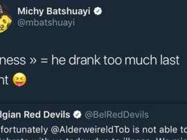 Batshauyi revealed all regarding Alderweireld's absence. Twitter/Batshuayi