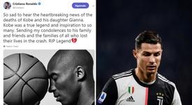 Kobe Bryant dead: Ronaldo joins Messi in hailing a 'true legend'. Montaje/Twitter/AFP