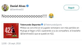 El brasileño bromeó en redes sociales. Twitter/DaniAlves