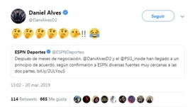 Dani Alves accuse ESPN de mentir. Capture/DaniAlves