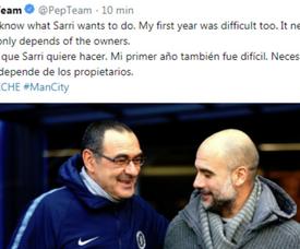 Guardiola saiu em defesa de Sarri. Twitter/PepTeam
