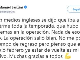 Lanzini invitó al optimismo. Twitter/Lanzini