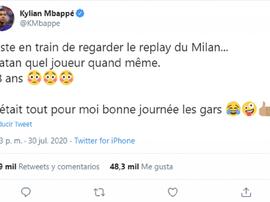 Mbappé, a los pies de Ibra. Twitter/KMbappe