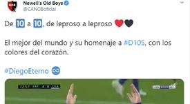 A reação do Newell's a homenagem de Messi a Maradona. Captura/CANOBoficial