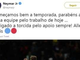 Neymar ringrazia i tifosi su Twitter. Twitter/NeymarJR