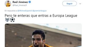 Jiménez celebrou o acesso à Europa League do Wolves. Captura/RaúlJiménez
