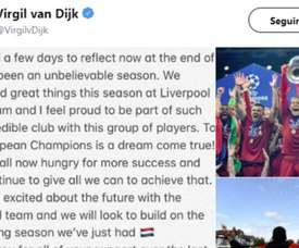 Van Dijk dresse un bilan de sa saison avant de partir en vacances. Capture/VirgelvanDijk