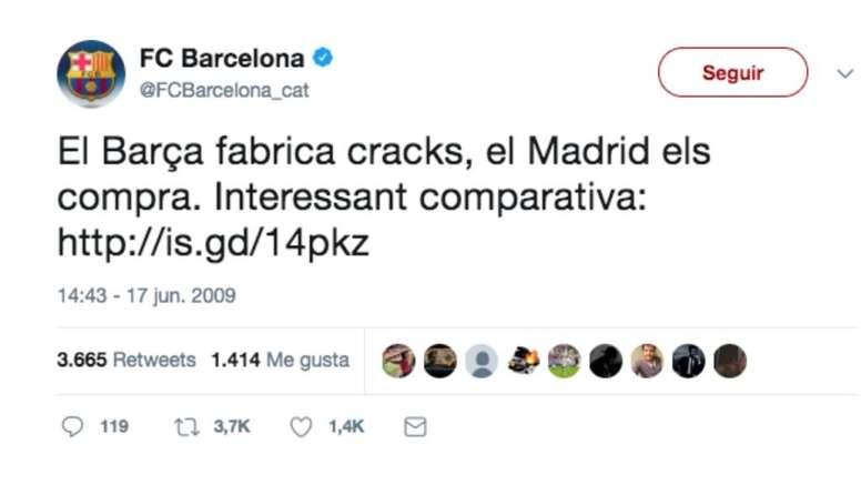 Las redes sociales sí tienen memoria. Twitter/FCBarcelona