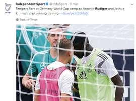 L'image de la tension entre Rüdiger et Kimmich. Capture/IndoSport